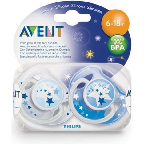 Philips Avent dudlík 6-18 Night Time 2 ks