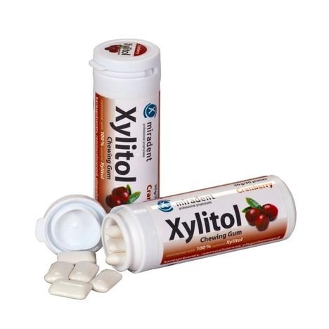 Miradent Xylitol žvýkačky BRUSINKA 30 ks