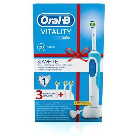 Braun Oral B Vitality 3D White D12.513 zubní kartáček + náhradní hlavice 3D White 2ks