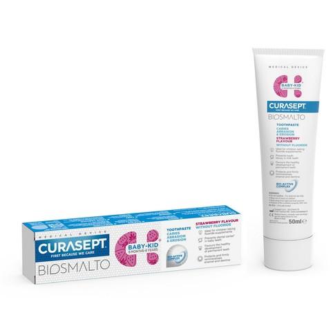 Curasept Biosmalto Baby-Kid Strawberry No Fluoride dětská zubní pasta 50 ml