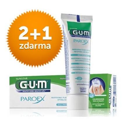 GUM Paroex 0,06% CHX zubní pasta 75 ml 2+1 ZDARMA