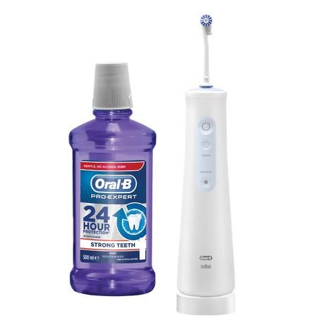 Oral-B AquaCare 4 ústní sprcha + Oral-B Pro-Expert Strong Teeth ústní voda 500 ml