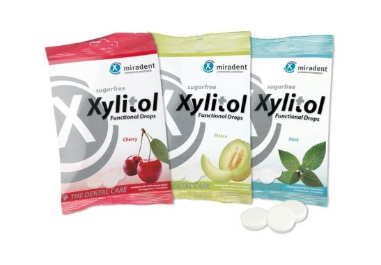 Fotografie Miradent Zubům prospěšné pastilky Xylitol Drops 60 g