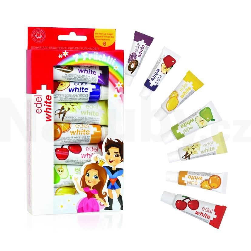 Edel+White 7 ovocných dětských zubních past 7 x 9,3 ml