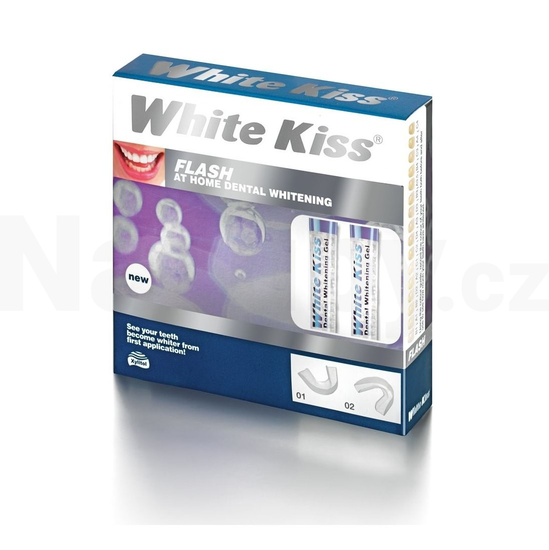 White Kiss Flash bělicí kúra na zuby (Home Dental Whitening with Xylitol) 4 Ks