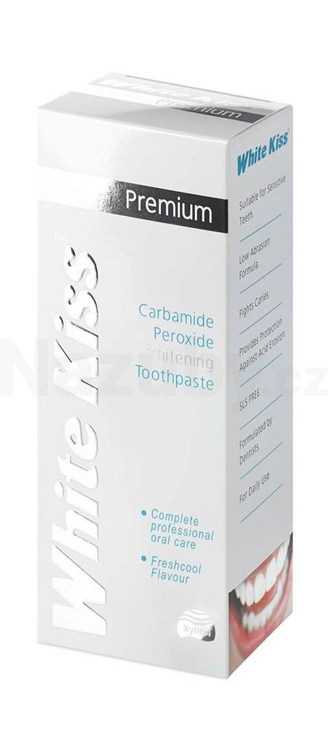 White Kiss Premium bělicí pasta pro posílení zubní skloviny (Carbamide Peroxide Whitening Toothpaste with Xylitol) 75 ml