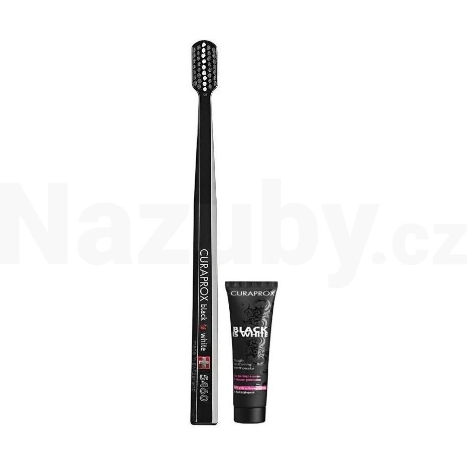 Curaprox Black is White zubní kartáček + zubní pasta 8 ml