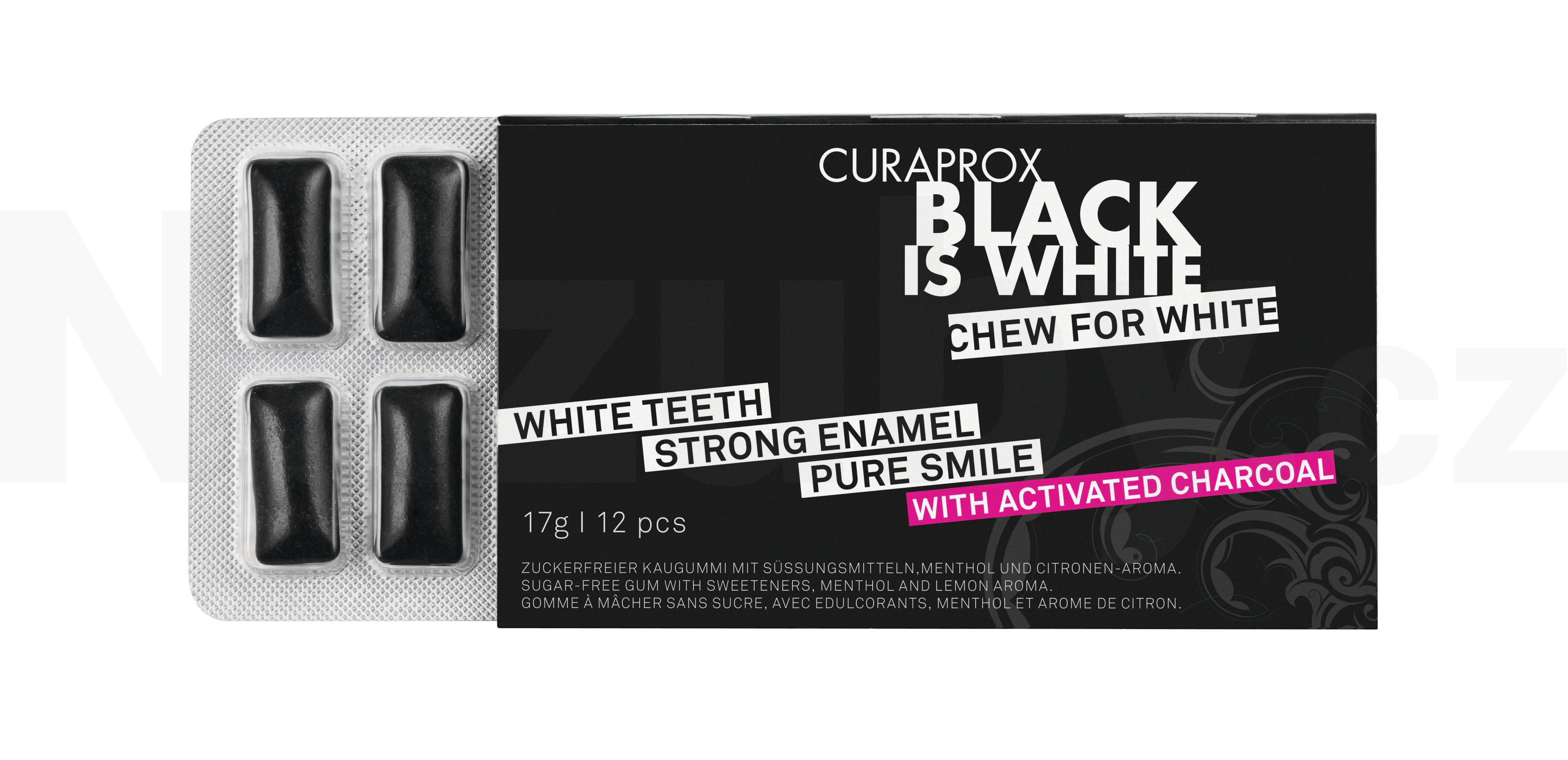 Curaprox Black is White žvýkačky 12 ks