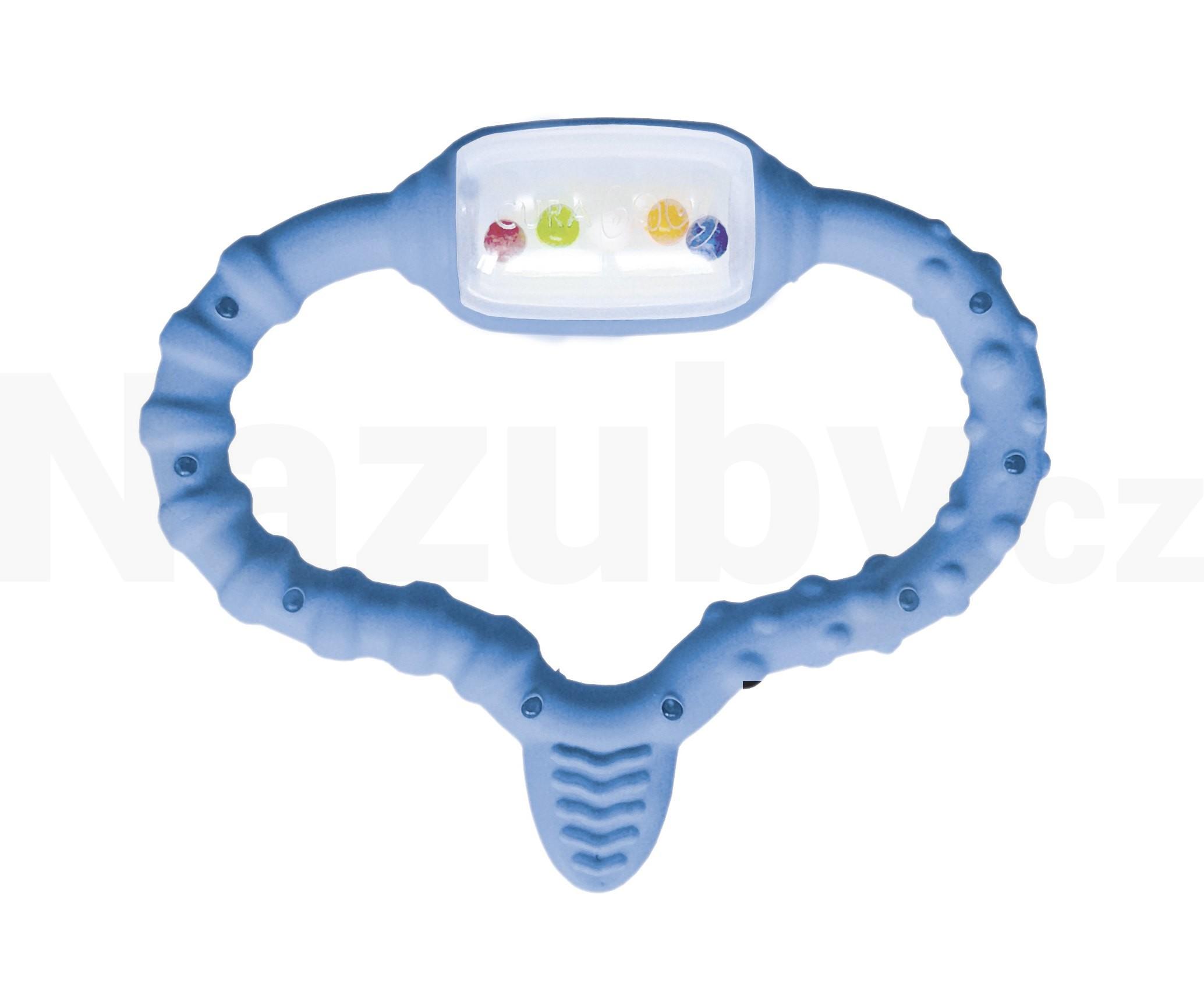 Fotografie Curaprox Curababy kousací kroužek s masážním kartáčkem a chrastítkem